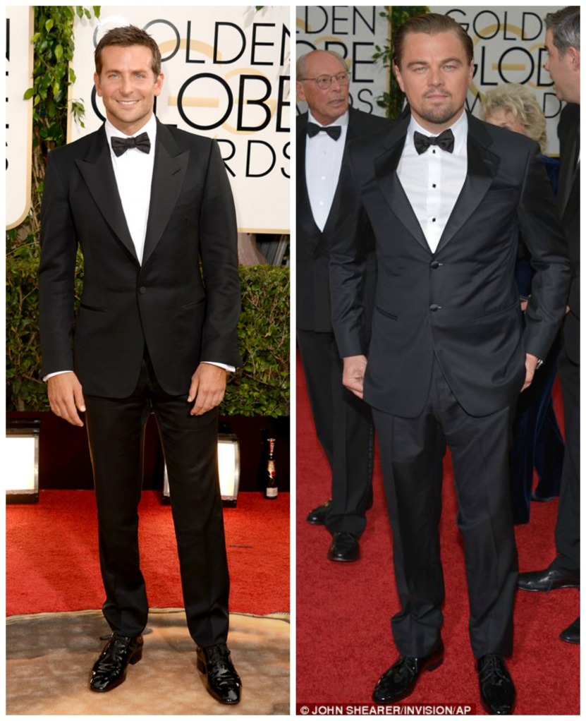Bradley Cooper wearing Tom Ford and Leo Di Capro at the Golden Globes