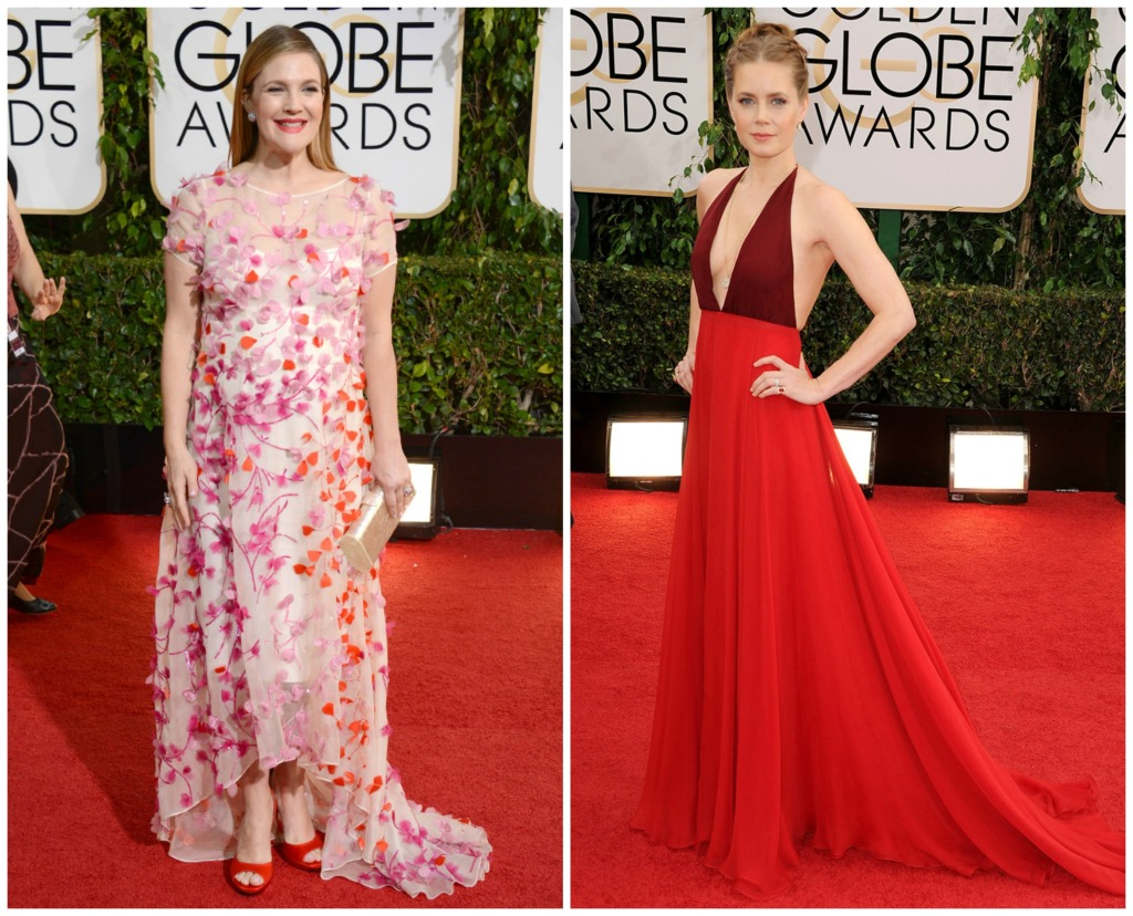 Pregnant Drew Barrymore in Monique Lhuillier and Amy Adams wearing Valentino