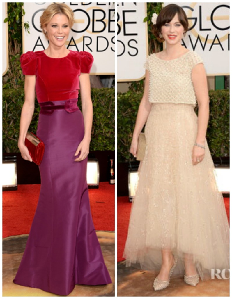 Julie Bowen in Carolina Hererra and Zoey DeChanel in Oscar De La Renta