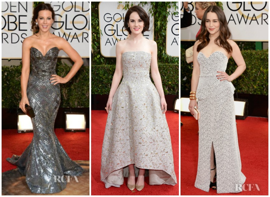 Kate Beckinsale in Zuhair Maurad, Michelle Dockery wearing Oscar De La Renta and Emilie Clarke at the Golden Globes