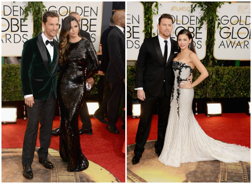 Matthew Mc Conaghey and wife Camilla Alves, Channing Tatum and Jenna Dewan at the Golden Globes 2014