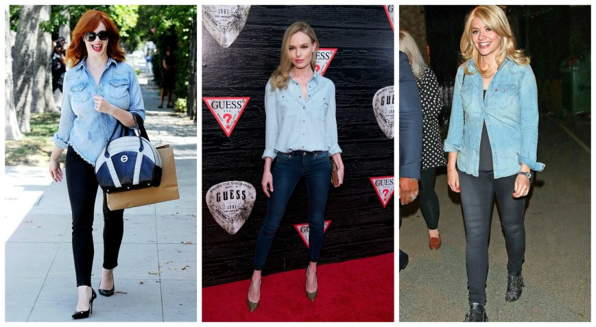 Christina Hendrix, Kate Boswort, Holly Willoughby wearing dark and light double denim