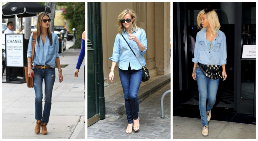 Alessandra Ambrosio, Reese Witherspoon and Rihanna in denim on denim
