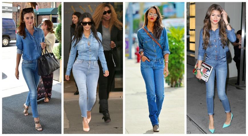 Miranda Kerr, Kim Kardashian, Zoe Saldana, Zendaya all wearing denim on denim