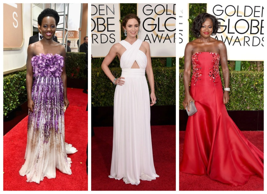 Lupita Nyong'o, Emily Blunt and Viola Davies at the Golden Globes 2015